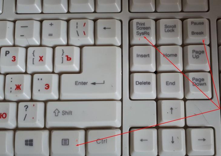 Клавиши управления курсором на дополнительной панеле